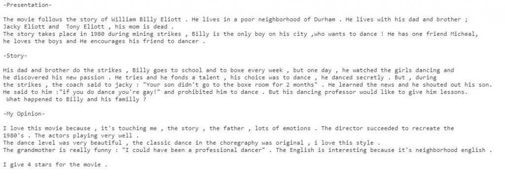 résumé Billy Eliott